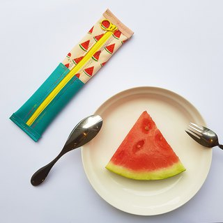 [Interior width 6cmX length 23cm] 2 surface waterproof and environmental protection tableware bag & pencil case - watermelon bite