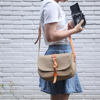 Minimalist Camera Shoulder bags in water resistant canvas and leather Khaki