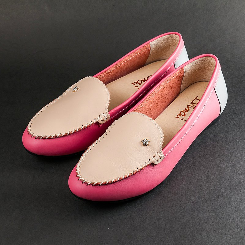Personalized meteor color matching leather loafers-camel pink peach