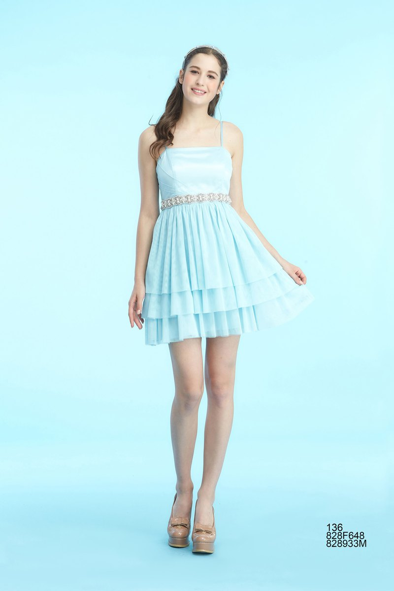 party thin straps pleated dress