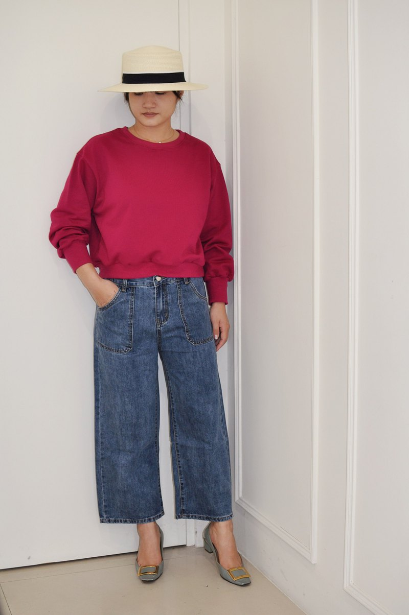 Flat 135 X Taiwan designer series big pocket cropped jeans straight-leg pants