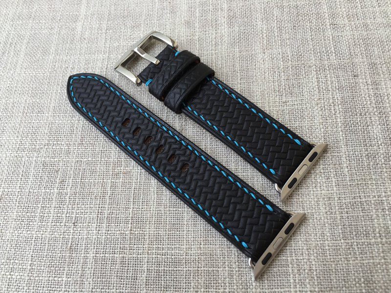 Vegetable tanned black leather strap handmade strap with custom size