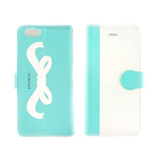 Name Possible ★ Large Format Ribbon Pattern Blue Green Notebook Type Smart Case