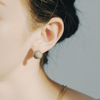 Brass Concrete Needle Earring -A Trip to the Moon- C3CraftStudio x Agaric Garden