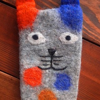 【Grooving the beats】iPhone felt dog case, felt case, custom case, handmade iPhone sleeve, Iphone bag(Animal_Grey Cat)