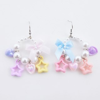 Faux pearl hoop earrings with pastel bead charms and bow