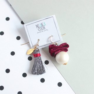 Red wine & grey pearl earrings / ear-clips
