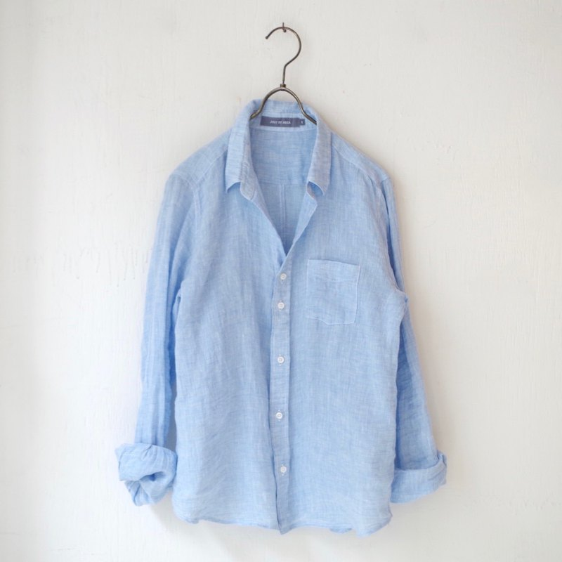 [Made in Japan] Linen Chambray Skipper Basic Shirt - sax blue