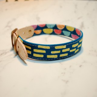 Dog M width 2.0 cm collar yellow dotted line hand-painted wind can purchase tag