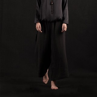 Black linen pants / wide leg pants