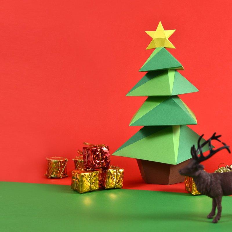 3D紙模型-DIY動手做-免裁剪-節日系列-星星聖誕樹-聖誕節擺設小物