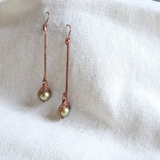 Handmade copper earrings red bronze simple green glass pearls will not oxidize discoloration resort wind