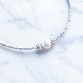 :: Silver Mine Series :: Mini Multi-faceted Silver Block Single Pearl Lace Flower Sterling Silver Bracelet