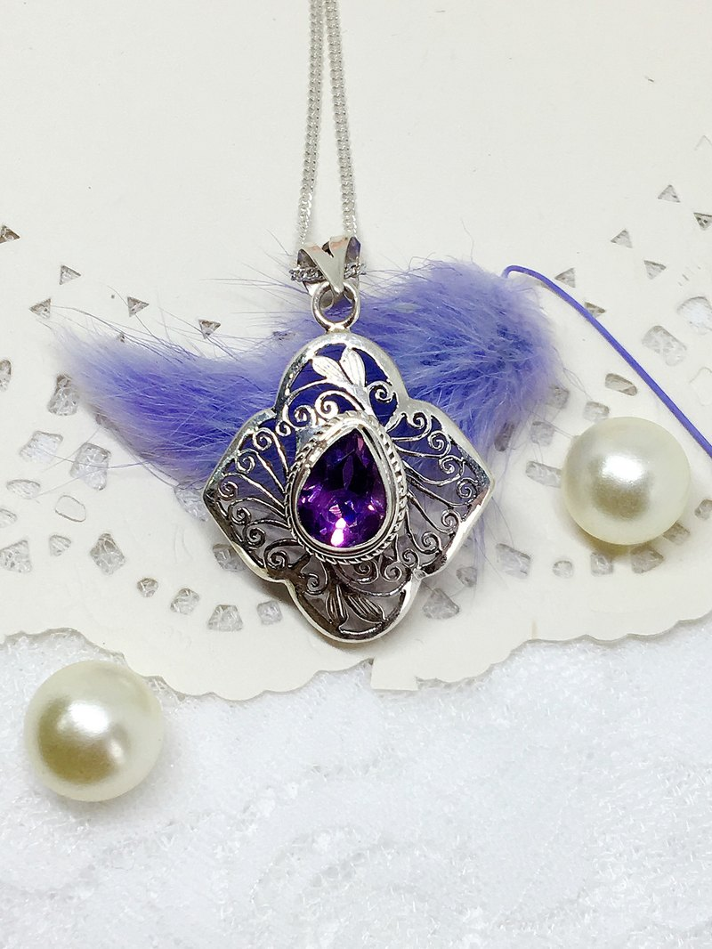 Classical carved sterling silver amethyst necklace Nepal Valentine's Day gift