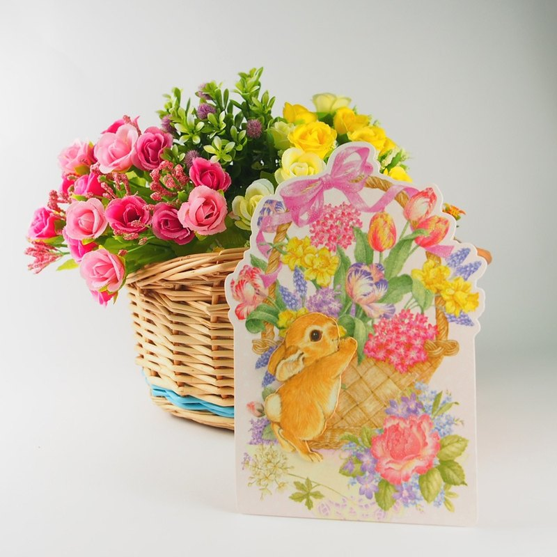 The three-dimensional bunny is arranging a big flower basket [JP usual thank you card]