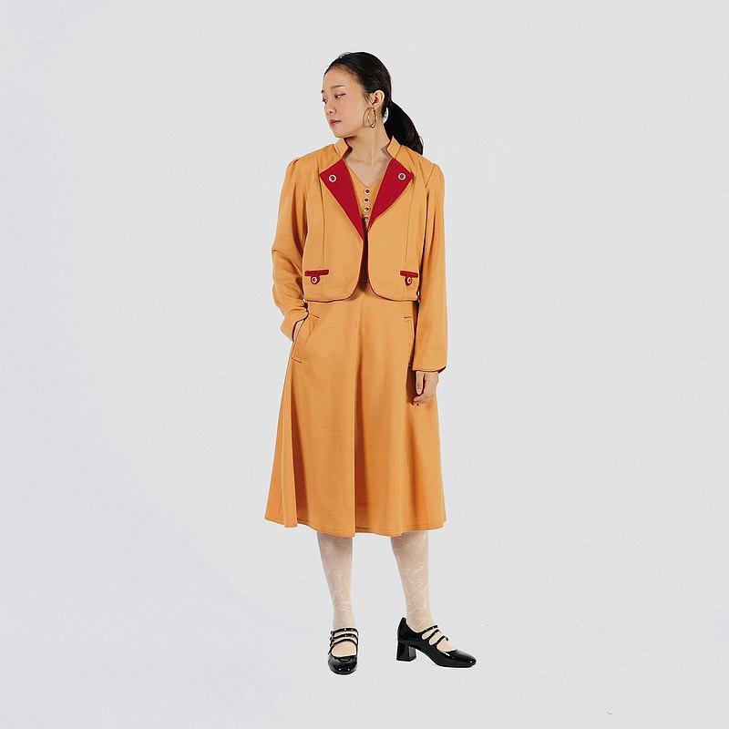 【蛋植物古著】昭和洋橙假兩件式針織古著洋裝