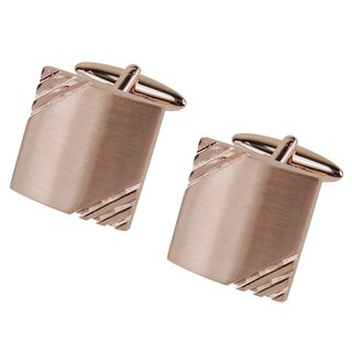 Brushed Rose Gold Grooves Cufflinks