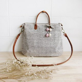 Cross-body Curve Bags Brown Mix White Color with Flower Chains