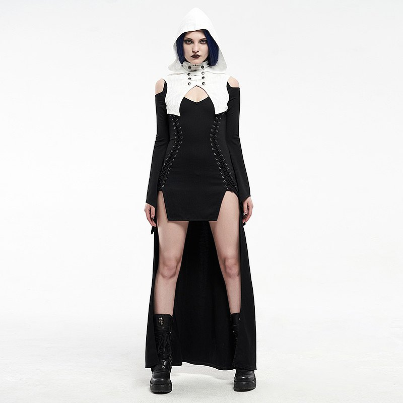 Gothic Wife Black and White Witch Hat Dress / Out of Print