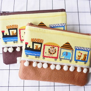 Happy train printed cotton,felt and pom trim pencil case.