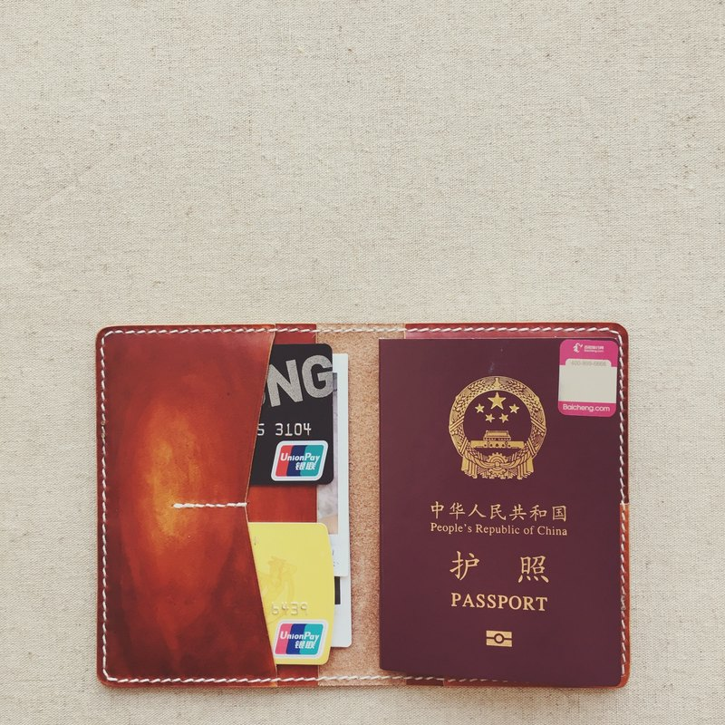 Multi-function passport holder passport set Italian vegetable tanned leather red brown dyeing handmade leather design