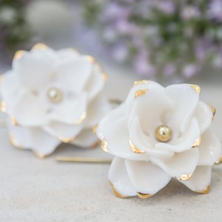 Thai Blossom ~ white & gold porcelain flower hook earrings
