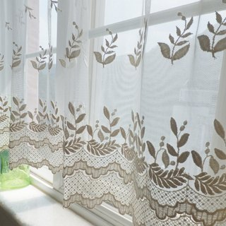 Vintage Embroidered Lace Window Valance Curtain