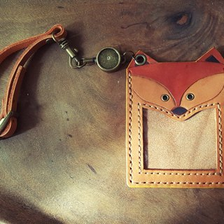 Naughty cute fox pure leather telescopic identification card / travel card holder (birthday, lover gifts)