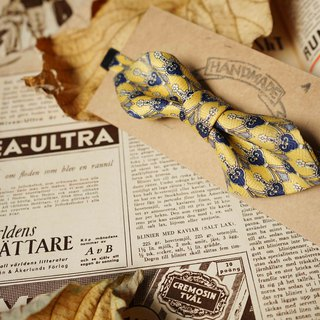 Antique Tie Remanufactured Handmade Bow Tie - Yesterday Yellow Flower - Wide Edition