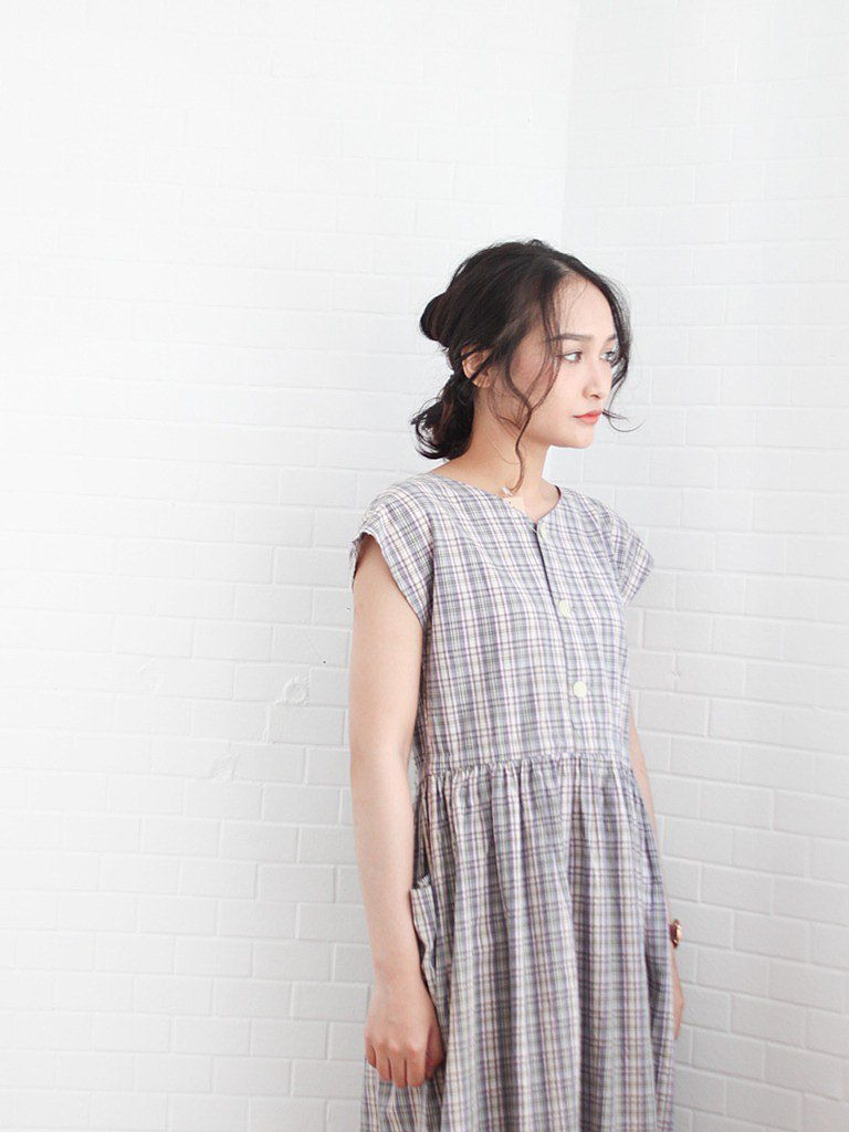 Early autumn Japanese retro double-sided purple plaid plaid cotton cute short-sleeved vintage dress