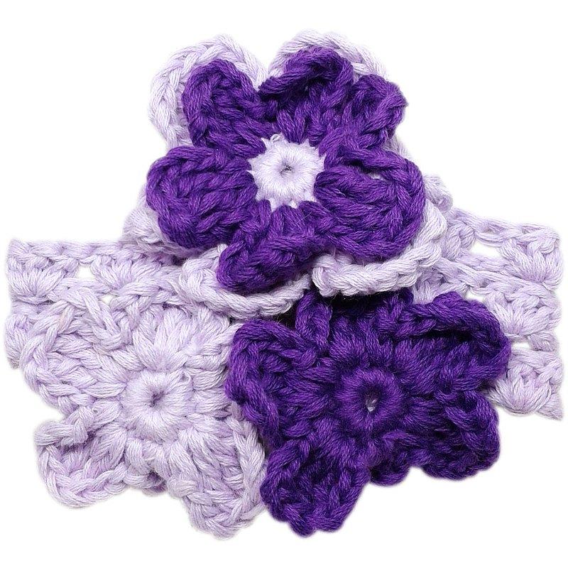 紫丁香/紫羅蘭小花串 手工針織花朵純棉髮帶Lilac/Violet