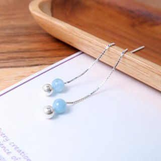 Aquamarine Venice Long Chain Earrings (Small) - 925 Sterling Silver Natural Stone Earrings