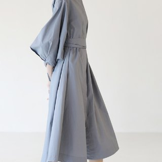 KOOW Sea Street Chic Tailored Grey Broad Sleeve Long Shirt Dress Skirt Thin Trench Coat
