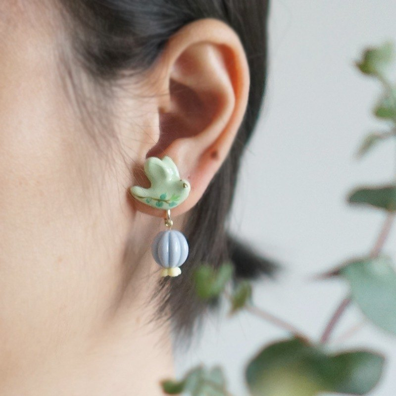 Unicorn forest gifted eucalyptus bean green single earrings / ear clip