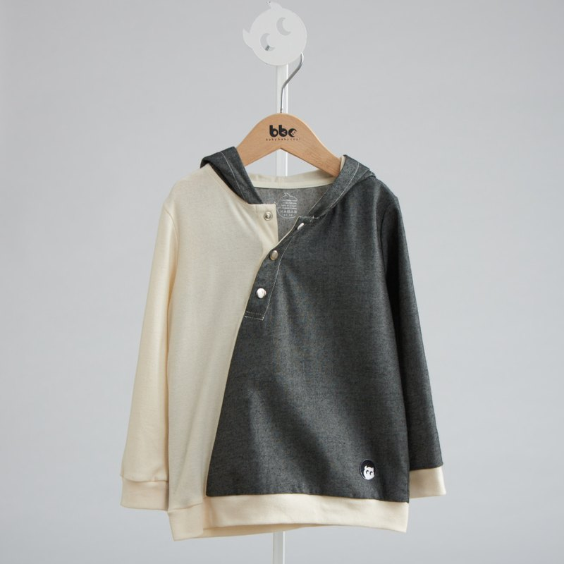Elf double hooded slanted placket top