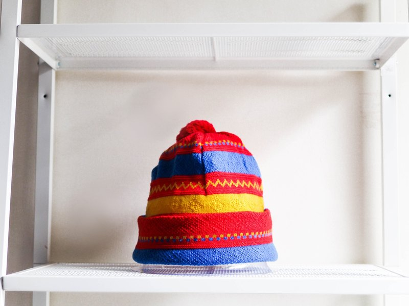 River Hill - Saitama Rainbow mixed woven wire wool plaid youth log antique wool hat beanie