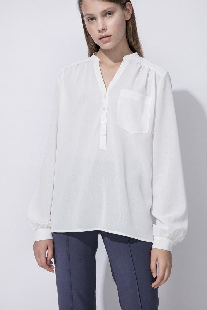 PH白色長袖抽皺襯衫