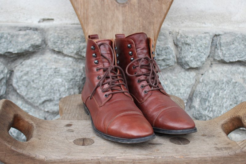 [Vintage shoes] (Made in Italy) Brown high boots boots leather shoes
