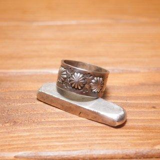 Hand stamped NAVAJO print silver ring #15