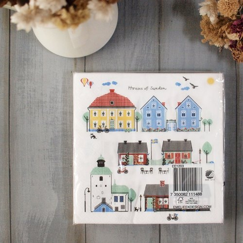 Sweden EMELIE EK napkin in a single package - a small house