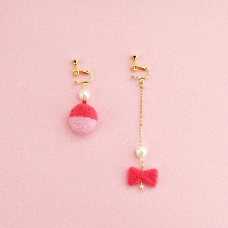 Pink wool felt earrings/ear clips