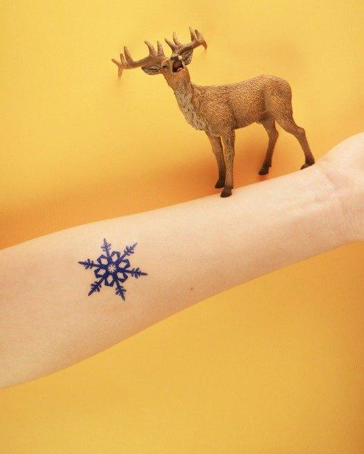 Deerhorn design / 鹿角 刺青 紋身貼紙 2入 雪花 藍色 聖誕節 冬天 聖誕
