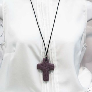 Diffuser Necklace Large Cross Purple Lava Rock Pendant Cowhide Leather Cord
