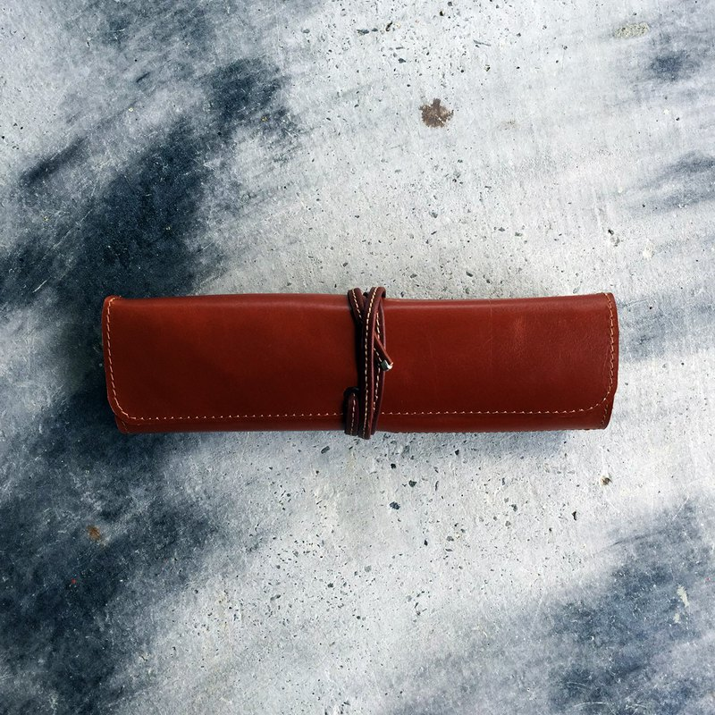 Leather pencil roll case/ artist roll classic handmade cowhide pencil case