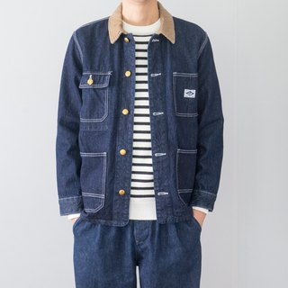 Japanese fashion American tooling pocket denim jacket corduroy collar denim jacket
