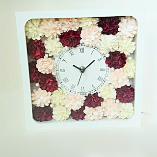 Flower clock square (white) carnation (red series mix) ver.