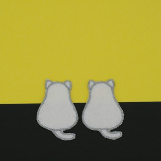 Mini White Cat Iron Patch