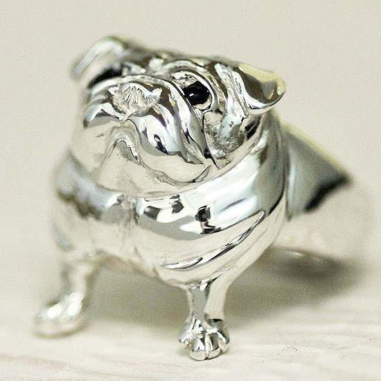 Looking up Pugling 【Free Shipping】 Dog Wanko Silver Silver Tataka Tatta Putpu