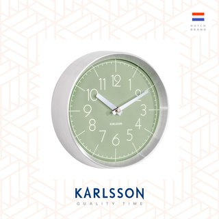 Karlsson, Wall clock Convex glass jungle green, brushed aluminum case