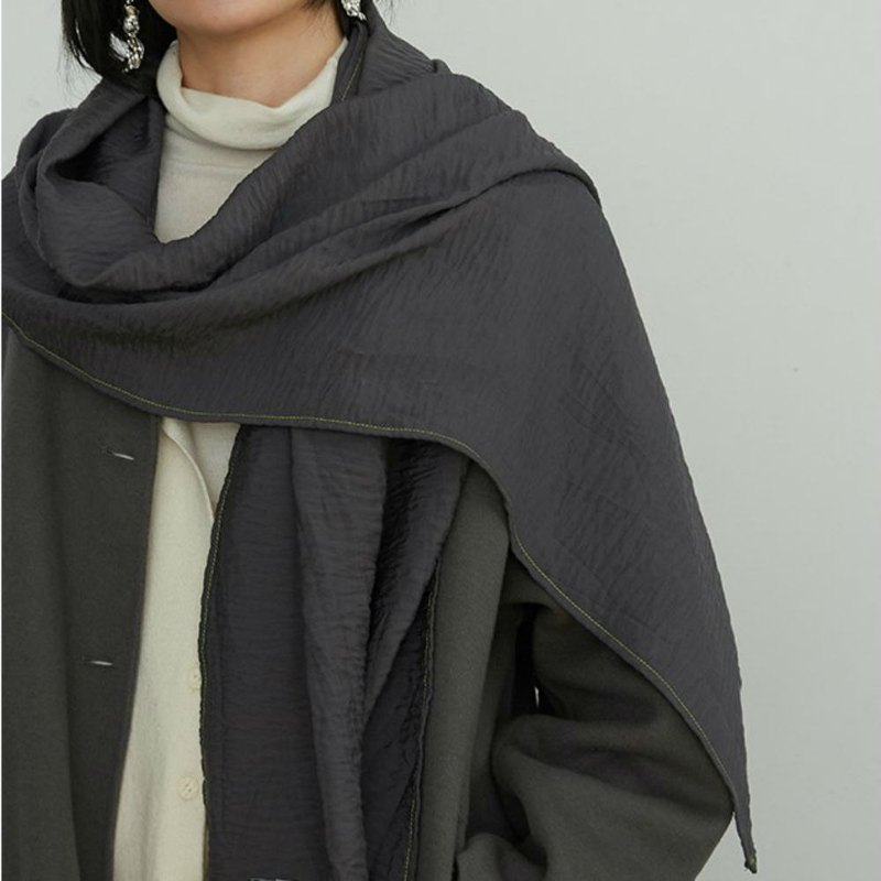 Dark gray green Japanese imported fabric hit color line water ripple scarf autumn and winter silk linen wild big shawl